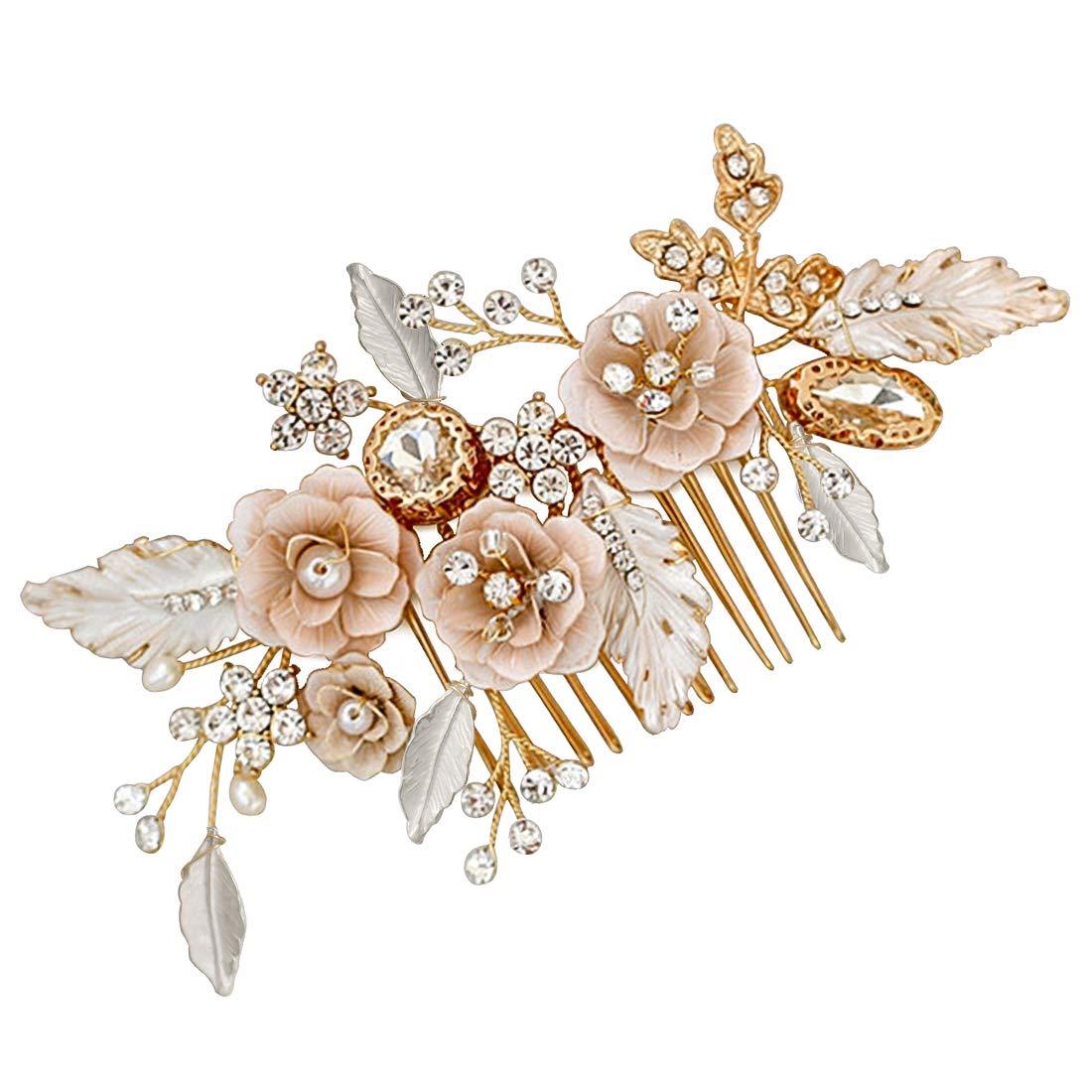 LovShe Gold Bridal Hair Accessories Flower Hair Comb Bride Hair Accessories Wedding Crystal Hair Comb Rhinestone by LovShe