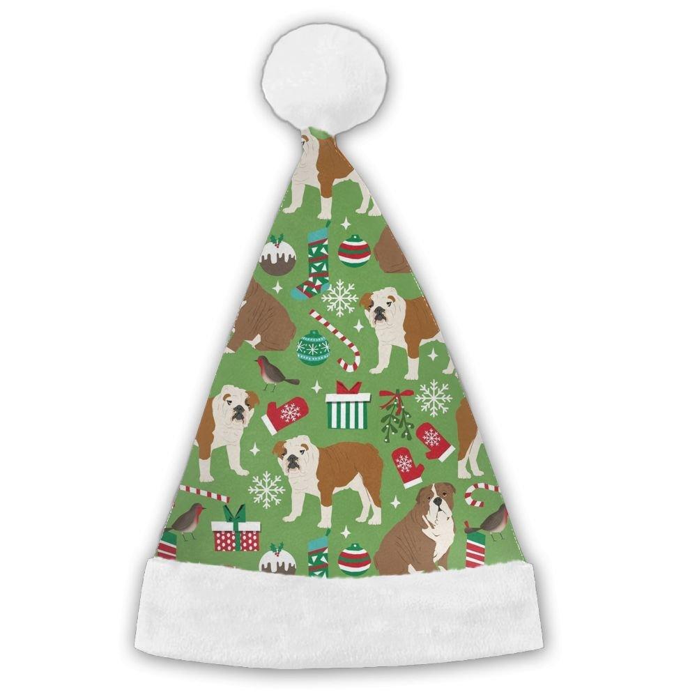 English Bulldog Christmas Traditional Christmas Santa Hat For Adult Children High School Boys And Girls