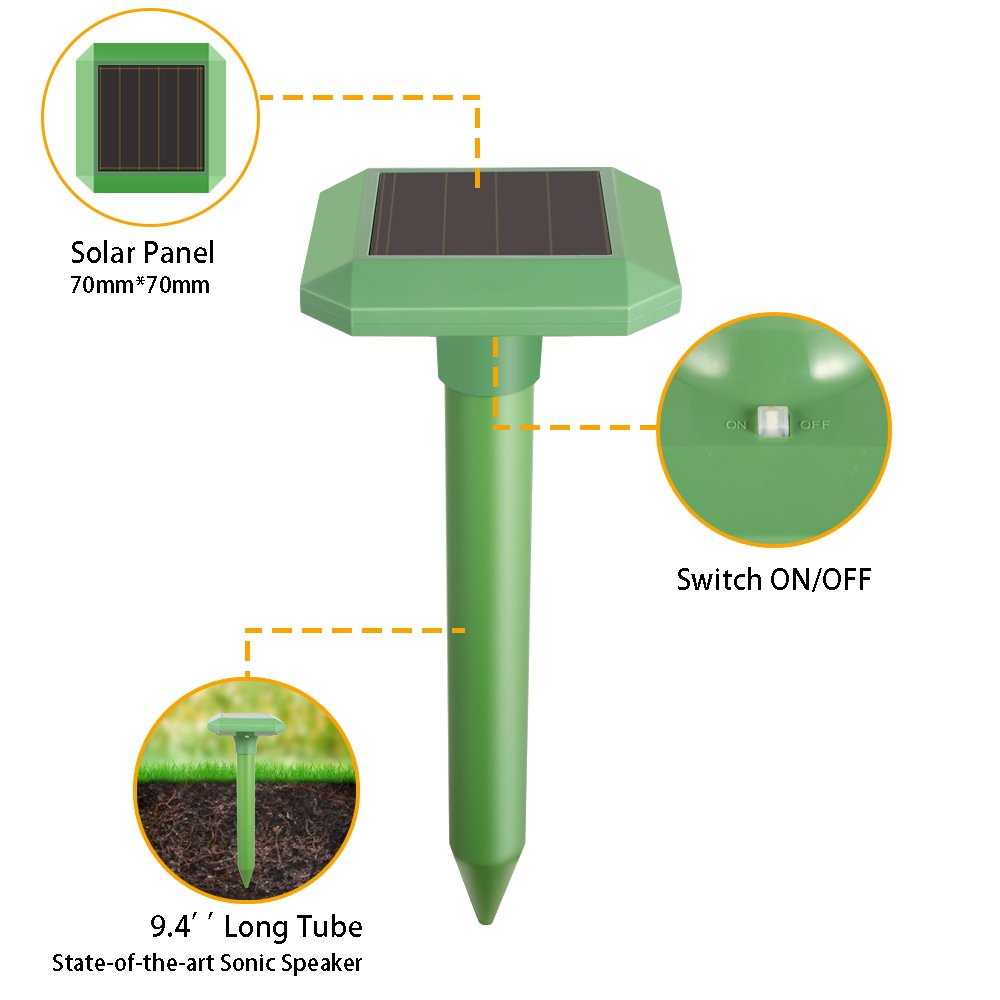 YmissL Solar Mole Repeller (2 Pack), 2018 Upgraded Outdoor Ultrasonic Mole Repellent Repel Mole, Vole, Gopher, Chipmunk, Mice, Rat and Other Rodent, Power Animal Pest Control Ultrasonic Repellent by YmissL (Image #5)