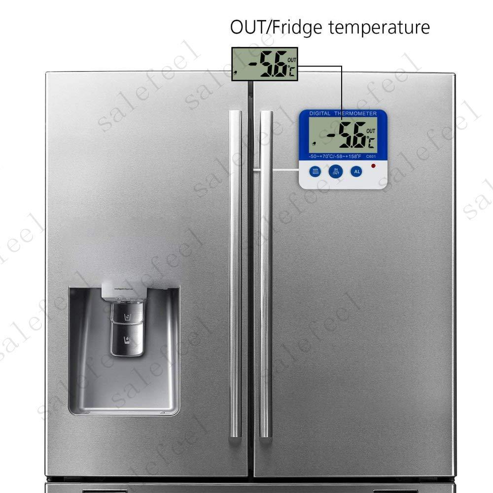 ์Ngeamsuwanshop US Digital Freezer/Fridge Thermometer with Magnet and Stander Freezer LED Alarm