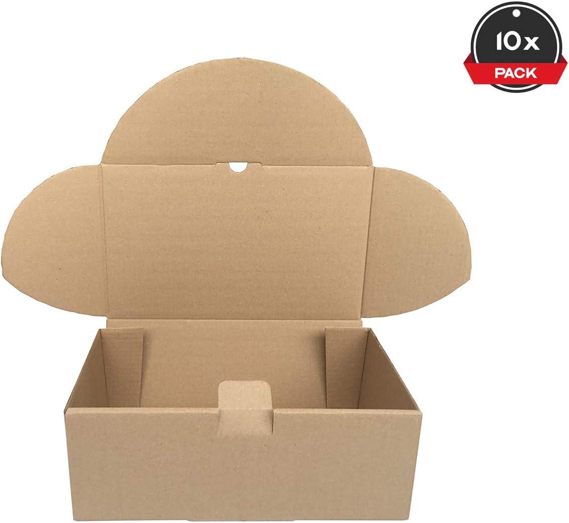 Cajeando | Pack de 10 Cajas de Cartón Automontables | Tamaño 35,5 x 22 x 13 cm | Para Envíos y Mudanzas | Color Marrón y Microcanal | Fabricadas en España: Amazon.es: Oficina y papelería