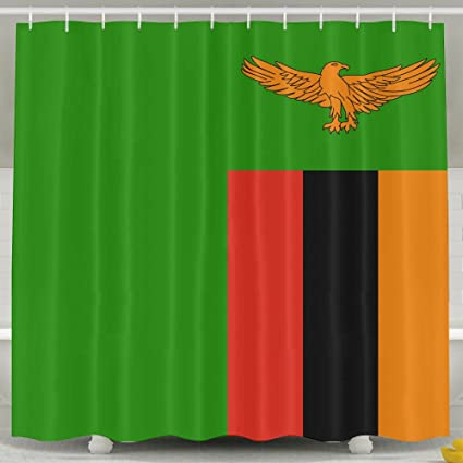 Flag Of Zambia Waterproof Fabric Polyester Shower Curtain For Bathroom Decors 60quotw