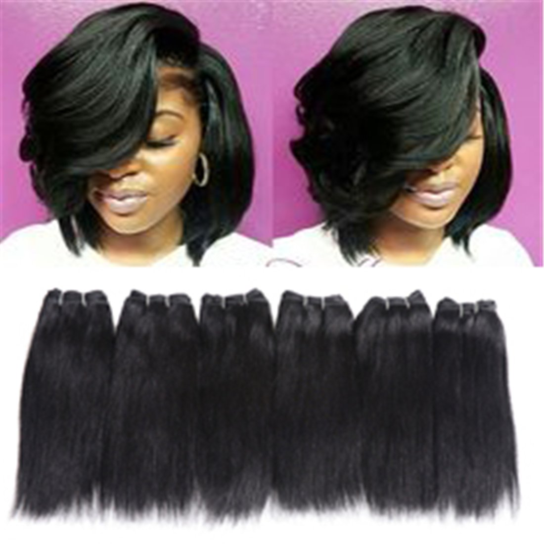 Amazon 6 Bundles Extensions Hair Straight Human Hair Weave