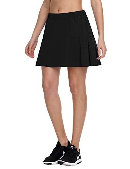 new product 0138a 05a75 Baleaf Women s Athletic Tennis Skirt Lightweight Golf Skirt Pleated Skort  with Pocket Black XS