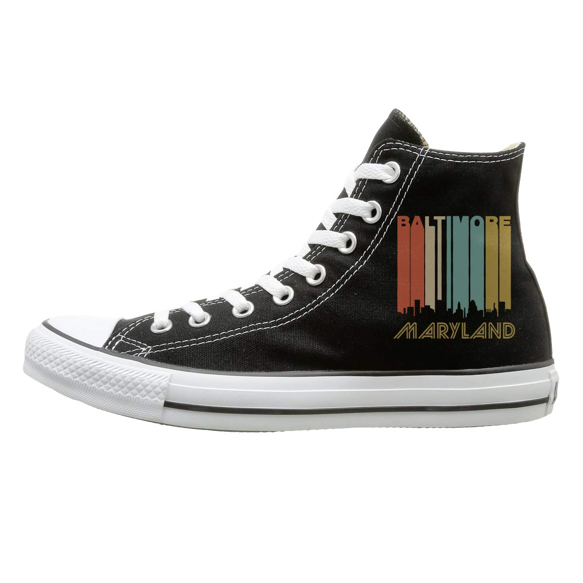 WI8Q-1 Retro Baltimore MD Skyline Fashion Canvas Shoes Sneaker Unisex High-Top Casual Shoes for Jogging Outdoor Sports