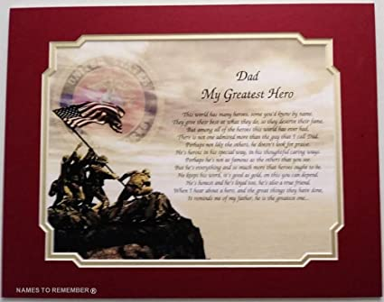 Amazon Gift For Marine Dad My Greatest Hero Poem Fathers Day Birthday Veterans Christmas Military Marines Home Kitchen