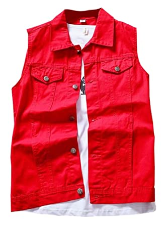 603693654f0 LifeHe Men s Retro Ripped Denim Sleeveless Jean Vest and Jacket White (Red