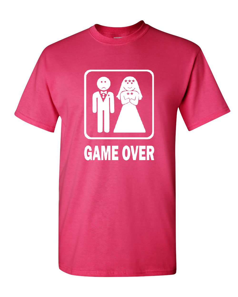 Game Over Funny T-Shirt Groom And Bride Wedding Tee Shirt Hot Pink XL