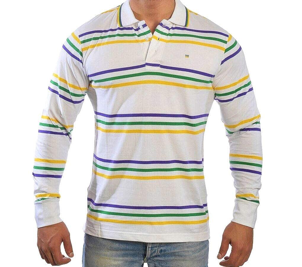 b6a43dcfa Poree's Embroidery Mardi Gras Infinity Stripe Long Sleeve Polo Shirt at  Amazon Men's Clothing store:
