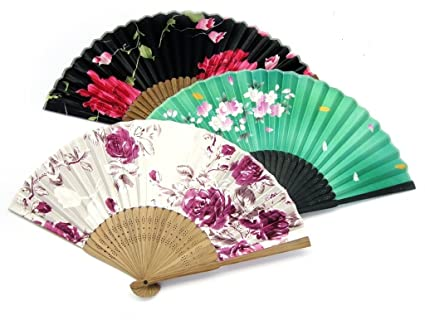 Japanese Fans Floral Patterns Pack of 3 Mixed Designs