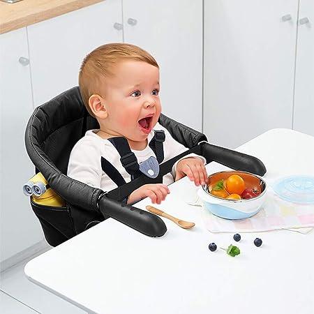 Surplex Trona Portátil Bebé, Sillita Ajustable A La Mesa Mesa Asiento de mesa para bebé, Fast - Trona con Cinturón de Seguridad, plegable Trona de Viaje Arnés de 7 puntos(6-36 meses), Negro