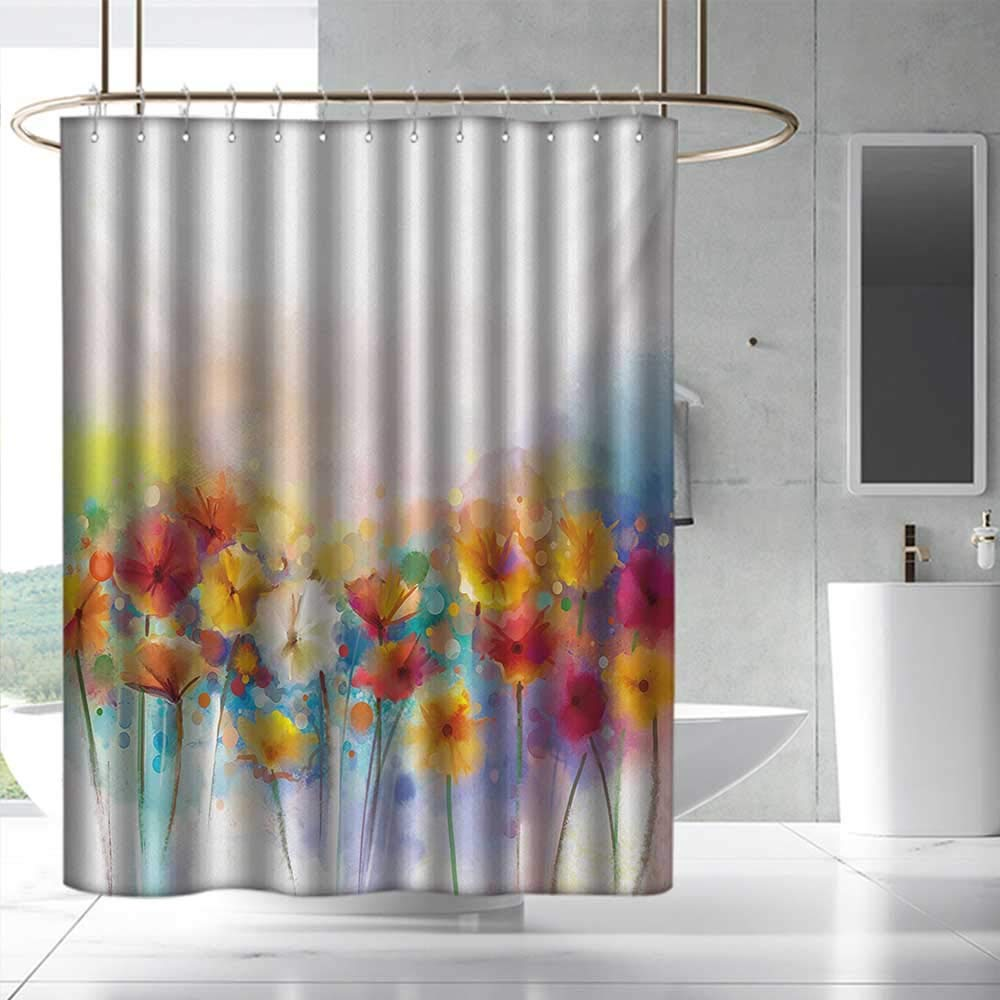 Flower Shower Curtain with Hooks Gerbera Bouquet Textured in an Artisan Expression Inflorescence Morph New Paint for Master, Kid's, Guest Bathroom W108 x L72 Red Orange