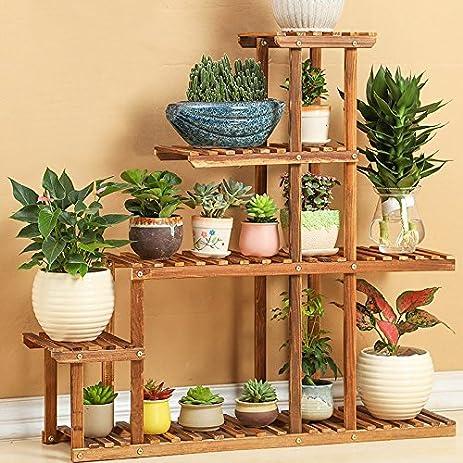 Wood 4 Tier Flower Pot Racks Home Garden Decor Plant Pot Display Shelf  Planter Stand Flower