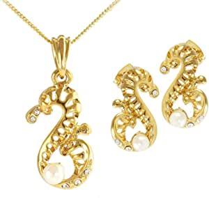 Vera Perla Women's 18K Gold Plated Shape with Pearl Design Jewelry Set