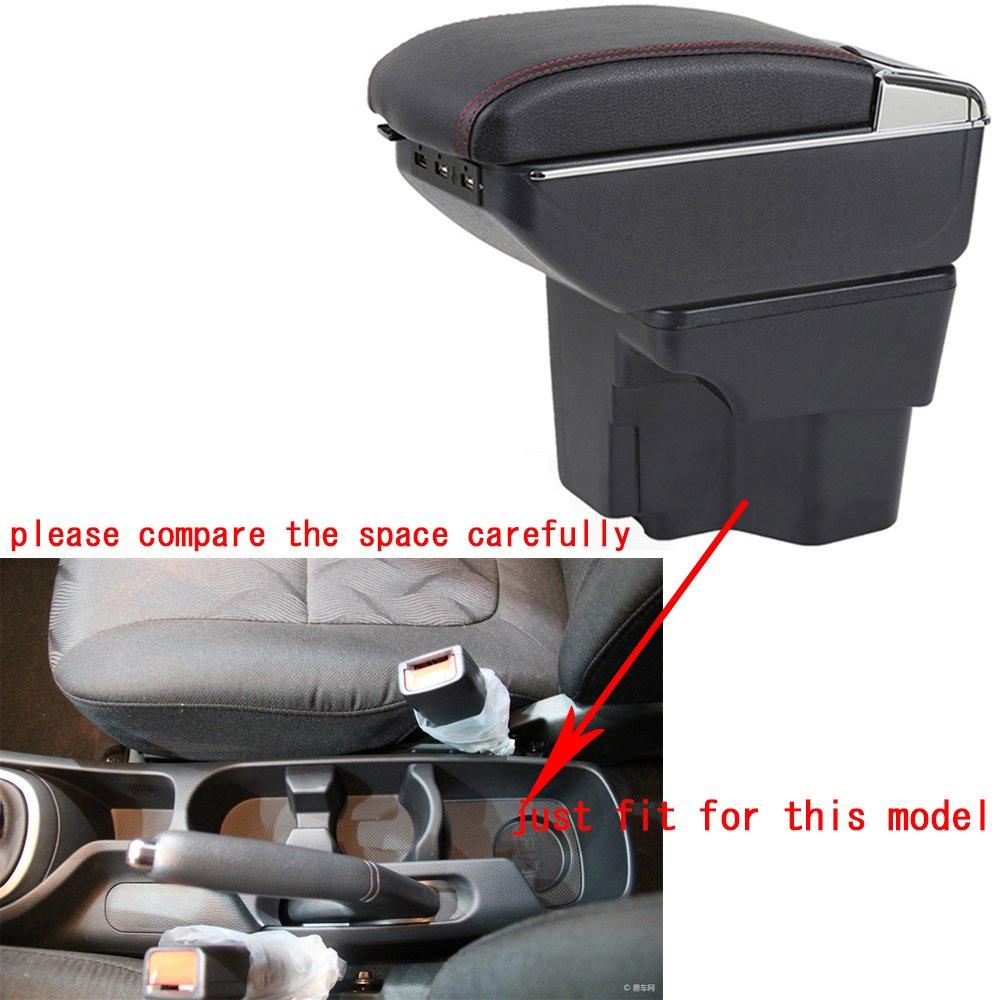 Car Center Console Armrest With 7 USB Smart Ports For KIA K2 RIO 2011-2016 Arm Rest Car Storage Box Console Organizer Black