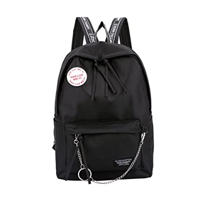 Amazon.com  Cinhent Backpacks Women s Fashion Candy Colors Letter Fresh  Style Students Shoulder Bags Backpack Travel Lightweight Zippered Rucksack  (Black)  ... ae5bf614e38a7