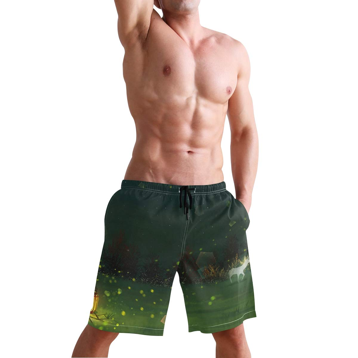 Mens Swim Trunks Quick Dry Beach Shorts with Mesh Lining Magic Deers with Light