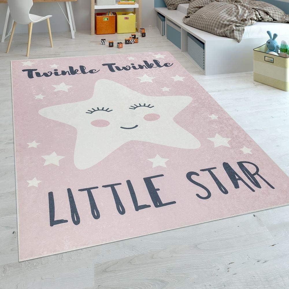 Paco Home Alfombra Habitación Infantil Niña Lavable Estrella Adorable Frase Rosa Blanco, tamaño:80x150 cm