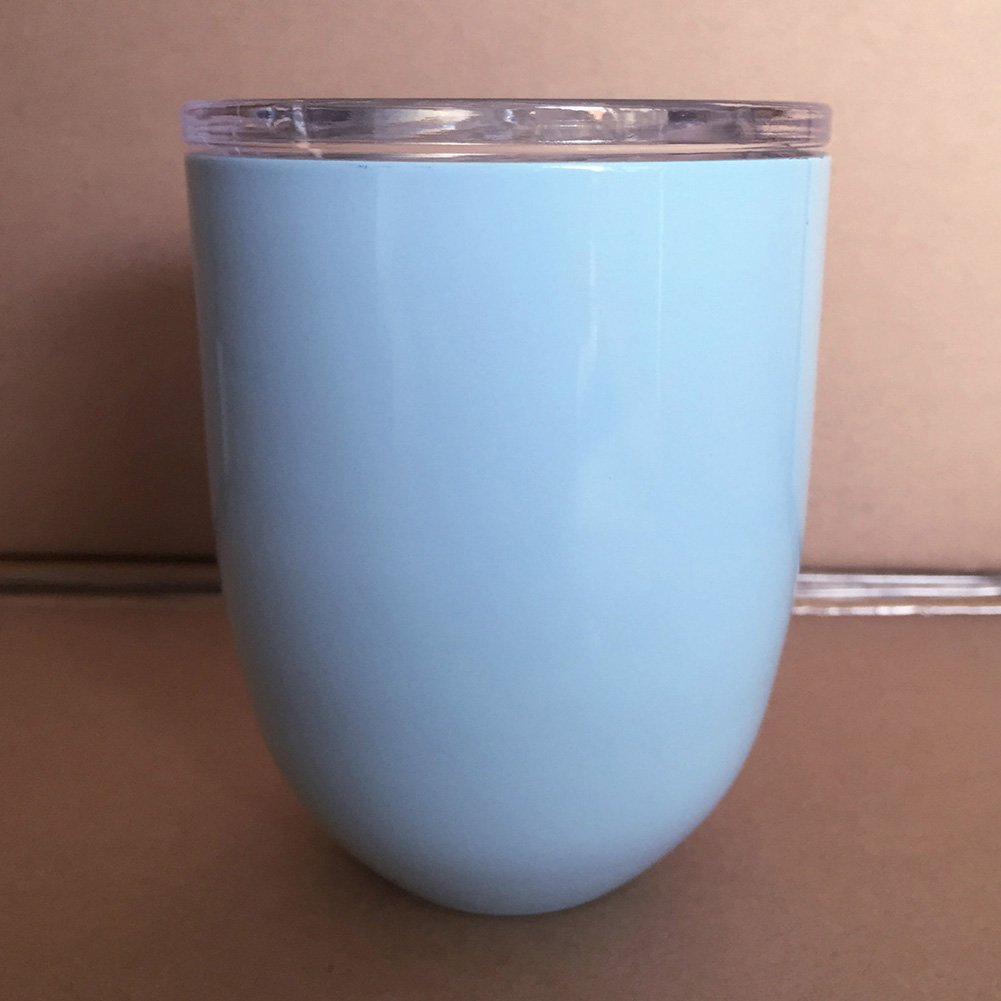Zehui Stainless Steel Metal Vacuum Cup Egg Shell Shape Water Thermos Cocktail Tumbler Wine Cup Coffee Mug With Lid 10oz Light Blue