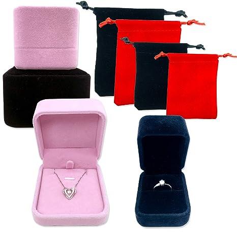 Amazon.com: Pack de 4 cajas de joyería de terciopelo ACKLLR ...
