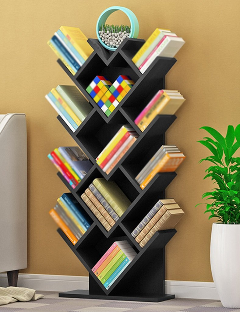WSSF- ツリー本棚パーソナリティウッド児童書棚フロアインドアリビングルームベッドルームハート型ストレージシェルフクリエイティブマルチレイヤー仕上げブックシェルフ(カラーオプション、50 * 20 * 115cm) (色 : ブラッククルミ色) B07BVKWQ6S ブラッククルミ色