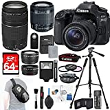 Canon EOS 80D Digital SLR Camera + 18-55mm STM + Canon 75-300mm III Lens + Slave Flash+ 64GB SDXC + Remote + Complete Cleaning Kit + Accessory Bundle - 3pc Filter Kit + Sling Backpack
