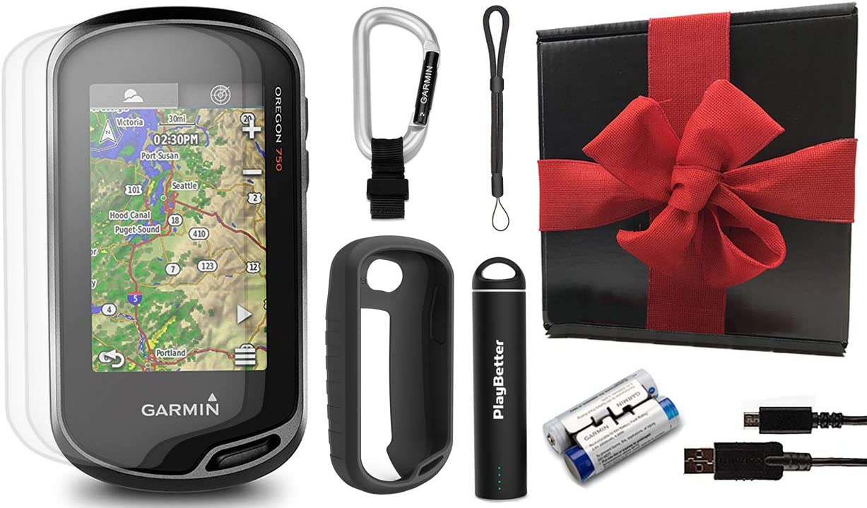 Garmin Oregon 750 Hiking GPS Handheld Gift Box Bundle with PlayBetter Portable Charger, Lanyard, Silicone Case Screen Protectors x3 Built-in Wi-Fi, Camera, Geocaching Black Gift Box