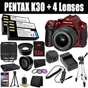 Pentax K-30 Weather-Sealed 16 MP CMOS Digital SLR (Red) with Pentax DA 18-55mm f/3.5-5.6 AL Lens+ SMC DA 18-135mm f/3.5-5.6 ED AL [IF] DC Weather Resistant+ Two D-LI109 Replacement Lithium Ion Batteries + External Rapid Charger + 16GB SDHC Class 10 Memory Card + 52mm Wide Angle Lens + 52mm 2x Telephoto Lens + 52mm 3 Piece Filter Kit + Carrying Case + Full Size Tripod + Multi Card USB Reader + Memory Card Wallet + Deluxe Starter Kit DavisMax Bundle