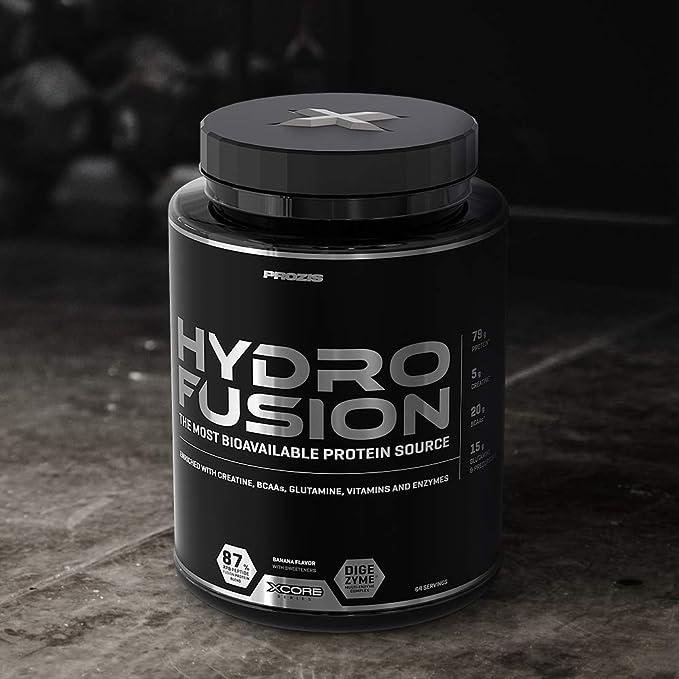 Xcore Nutrition Hydro Fusion Whey Protein Powder - Suplemento para el Crecimiento y la Recuperación Musculares, Sabor a Plátano - 2000g