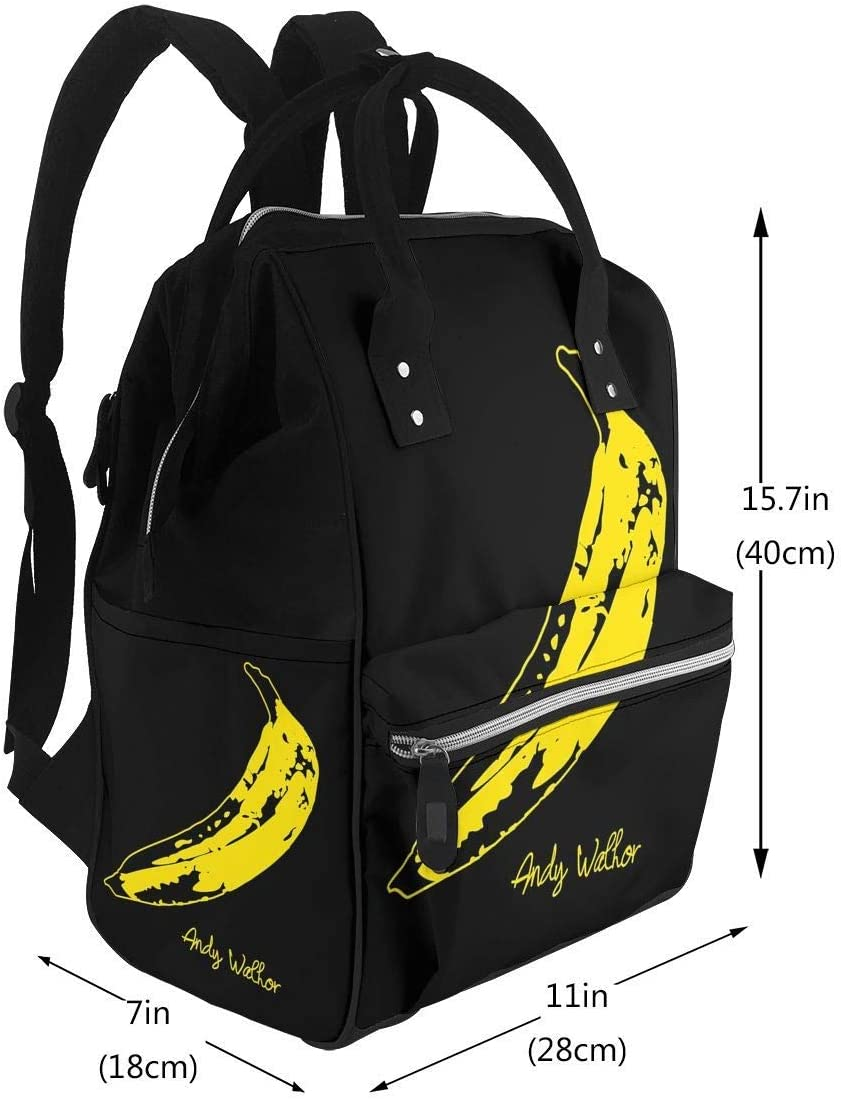 Retro Velvet Underground Andy Warhol Banana Rock Black Diaper Bag Multi-Function Waterproof Travel Backpack Nappy Bags for Baby Care Large Capacity Stylish and Durable
