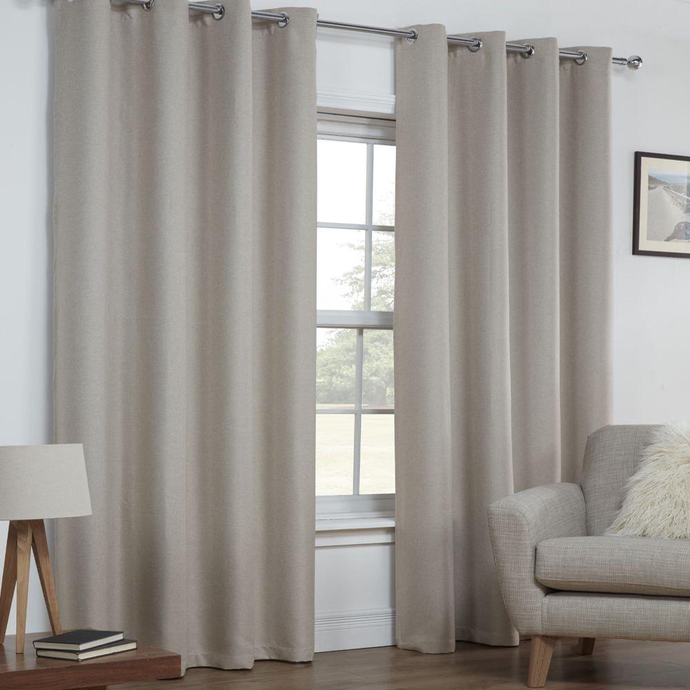 Tony's Textiles - Ösenvorhänge - wärmeisolierend - gewebte Leinen-Optik einfarbig - 2 Vorhangschals - Natur Creme - 168 x 183 cm B x L
