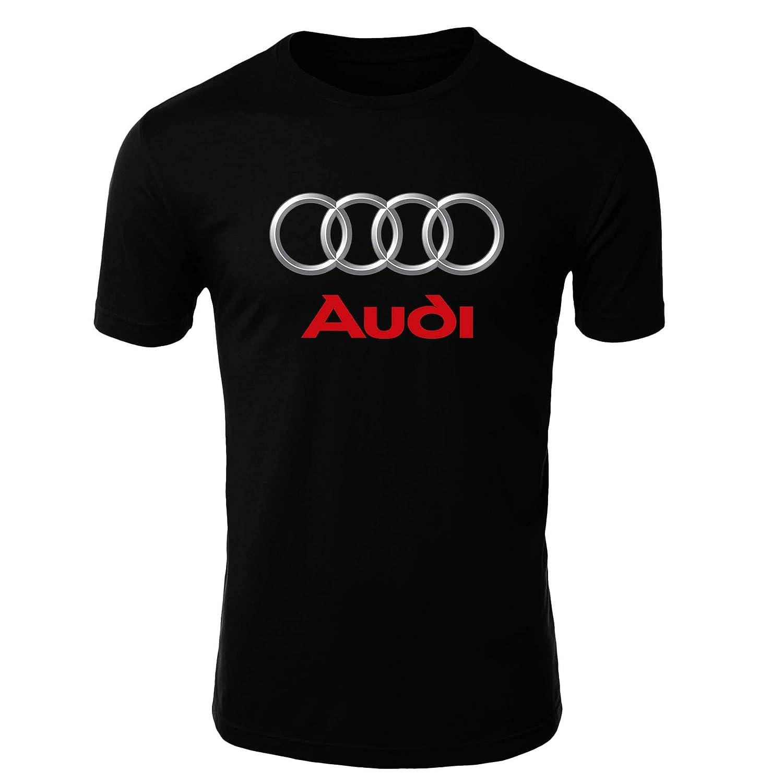 Audi Logo Camiseta Hombre Coche Clipart Car Auto tee Top Negro Blanco Mangas Cortas Presente