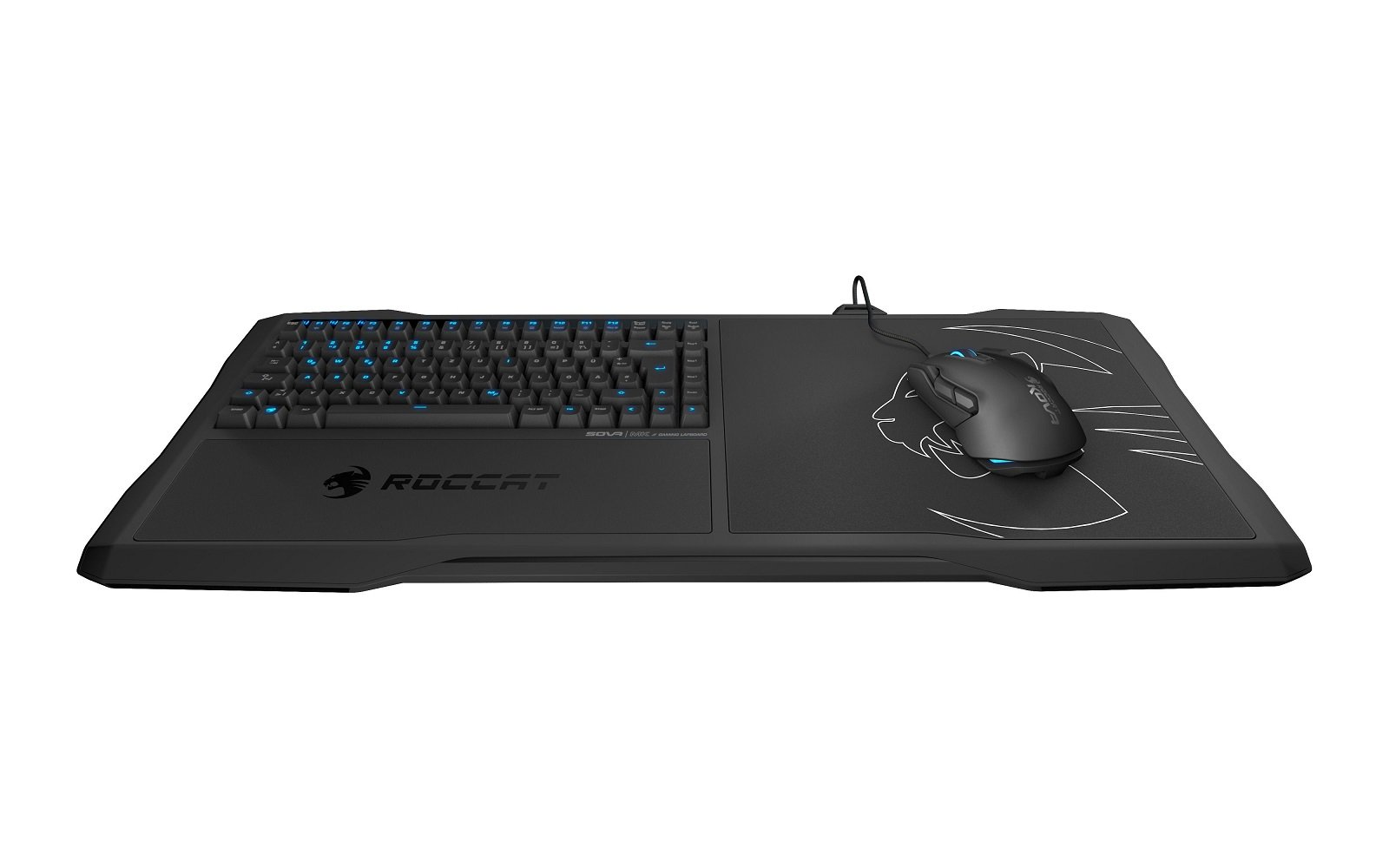 ROCCAT Sova Mechanical Gaming Lapboard for Gaming on the Couch with Cushion, Illuminated Backlit, Hotkeys, Programmable Keys, Quiet & Ergonomic, Brown Switch, for MMO & MOBA Games for PC, WOW – BLACK by ROCCAT