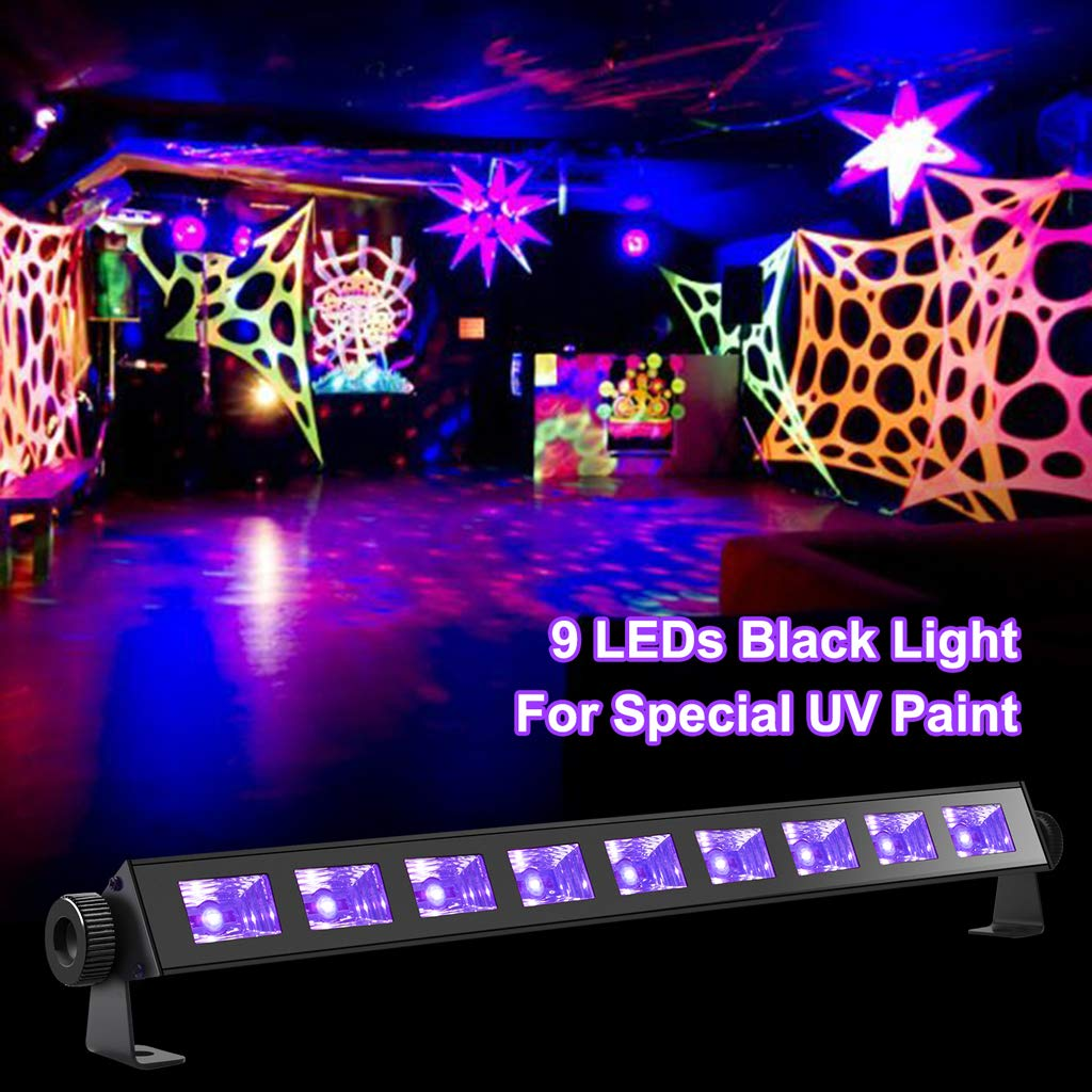 Halloween Wedding Christmas Pub Stage ENKEEO Black Light 27W 9 LED UV Bar Glow Blacklight 396nm for Party Bar Club and Any Indoor /& Outdoor Activities 3D6705A3