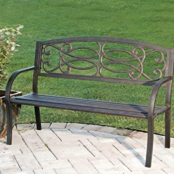 Amazon Com Evergreen Trellis Cast Iron Garden Bench