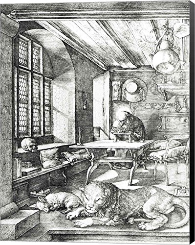 St. Jerome in his Study, 1514 by Albrecht Durer Canvas Art Wall Picture, Museum Wrapped with Black Sides, 16 x 21 inches