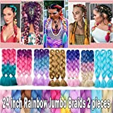 Ombre Jumbo Braids Hair Extensions Afro Twist Braids Kanekalon Jumbo Braiding Box Braid Crochet Hair Synthetic Braiding Hair 105G 24 inch Long 1 piece Purple/Lake Blue/Light Purple