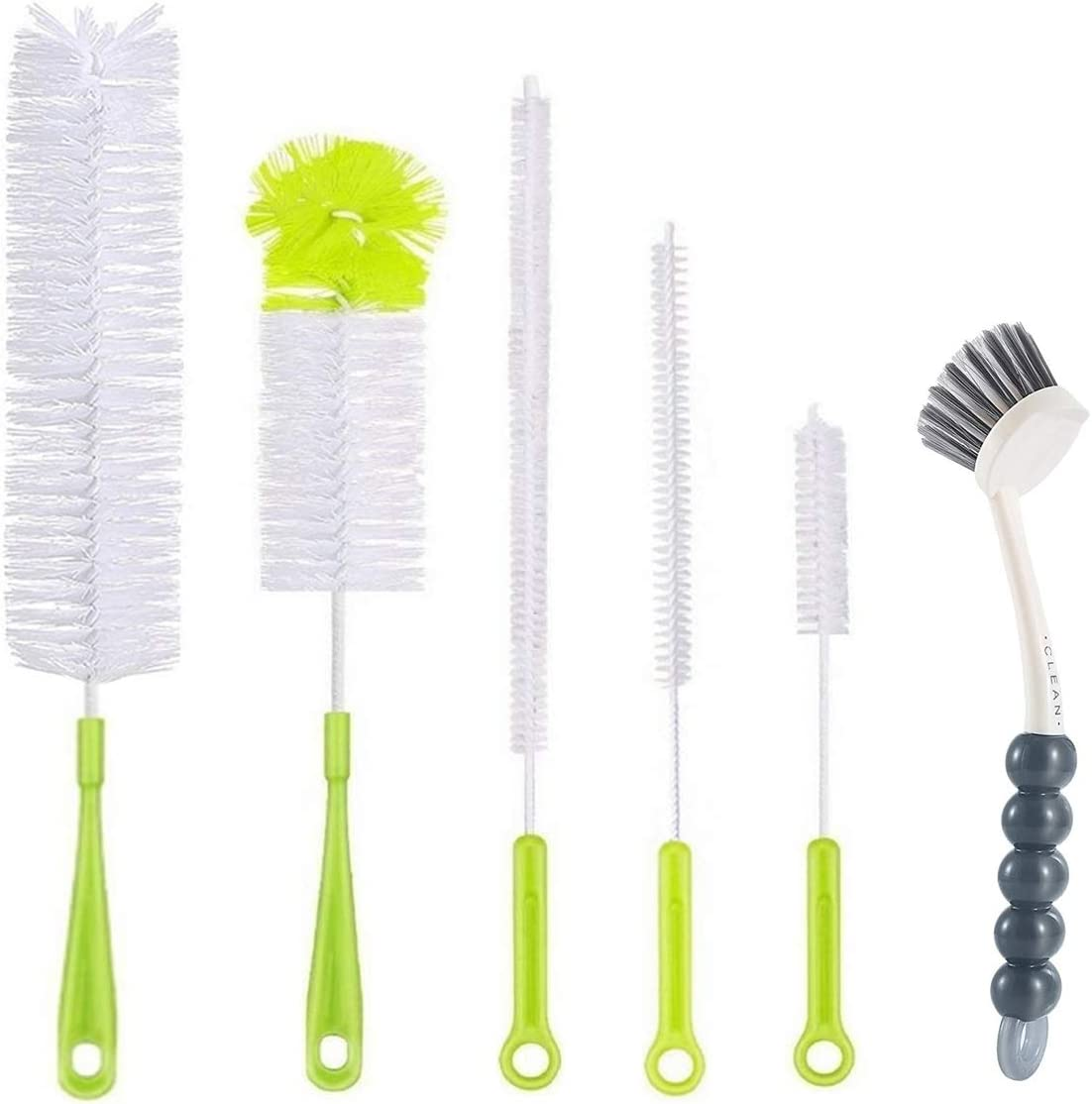 6Pcs Bottle Cleaning Brush Set-Long Handle Water Bottle Cleaner Brush for Washing Wine Decanter,Beer bottle,Baby Bottles,Include Sports Water Bottles|Straw Cleaner Brush|Kettle Spout|Lid Brush|Thermos