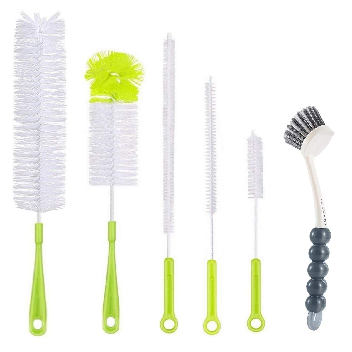 6Pcs Bottle Cleaning Brush Set-Long Handle Water Bottle Cleaner Brushes for Washing Wine Beer Baby Bottles,Include Grips Dish Brush|Bottle Brush|Kitchen Sink Brush|Straw Brush|Kettle Spout|Lid Brush
