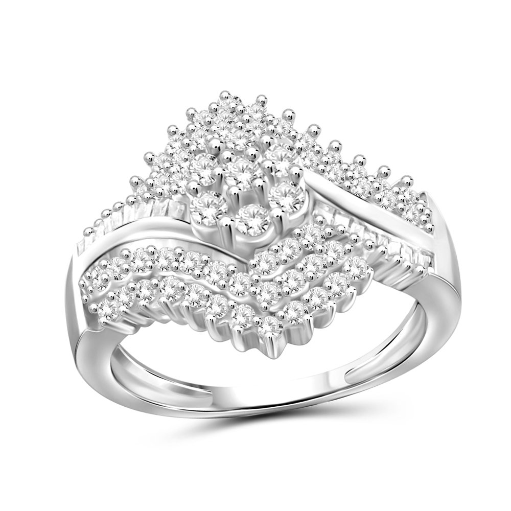 1.00 Carat T.W. White Diamond Sterling Silver Cluster Byepass Ring Size-8