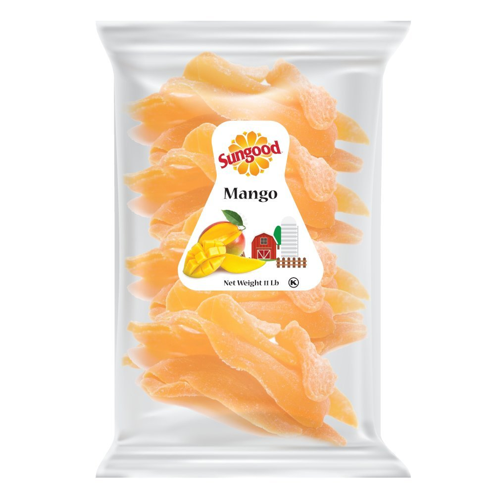 Sungood Fresh Delicious Dried Mango Cuts, Sweet and Healthy Fruit Snack, Family Size Pack 11lb. Kosher Certified