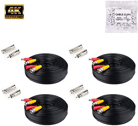 Anlink 4Pack 4K 8MP 5MP 4MP 1080P 100Ft 30 Meters Pre-Made All-in-One BNC Cables for Security Camera System and CCTV Bullet Cameras or Dome Cameras