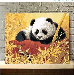 MBYWQ Digitale Olio Pittura Pittura A Olio per Bambini Bambini Studente Adulto Pennelli per Principianti E Colori Acrilici Animali del Paesaggio Panda E Gazze(Senza Telaio)