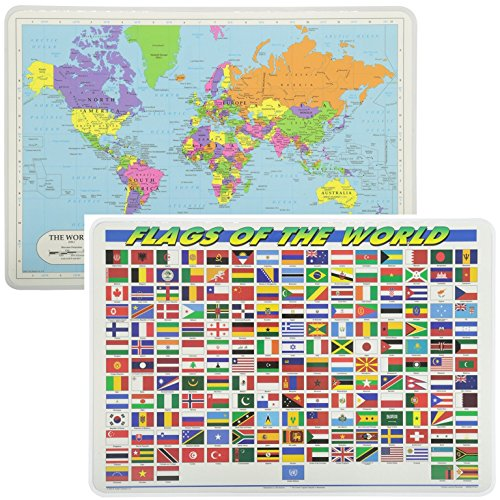 Painless Learning Educational Placemats World Map And World Flags Set Non Slip Washable (Flags Around The World)