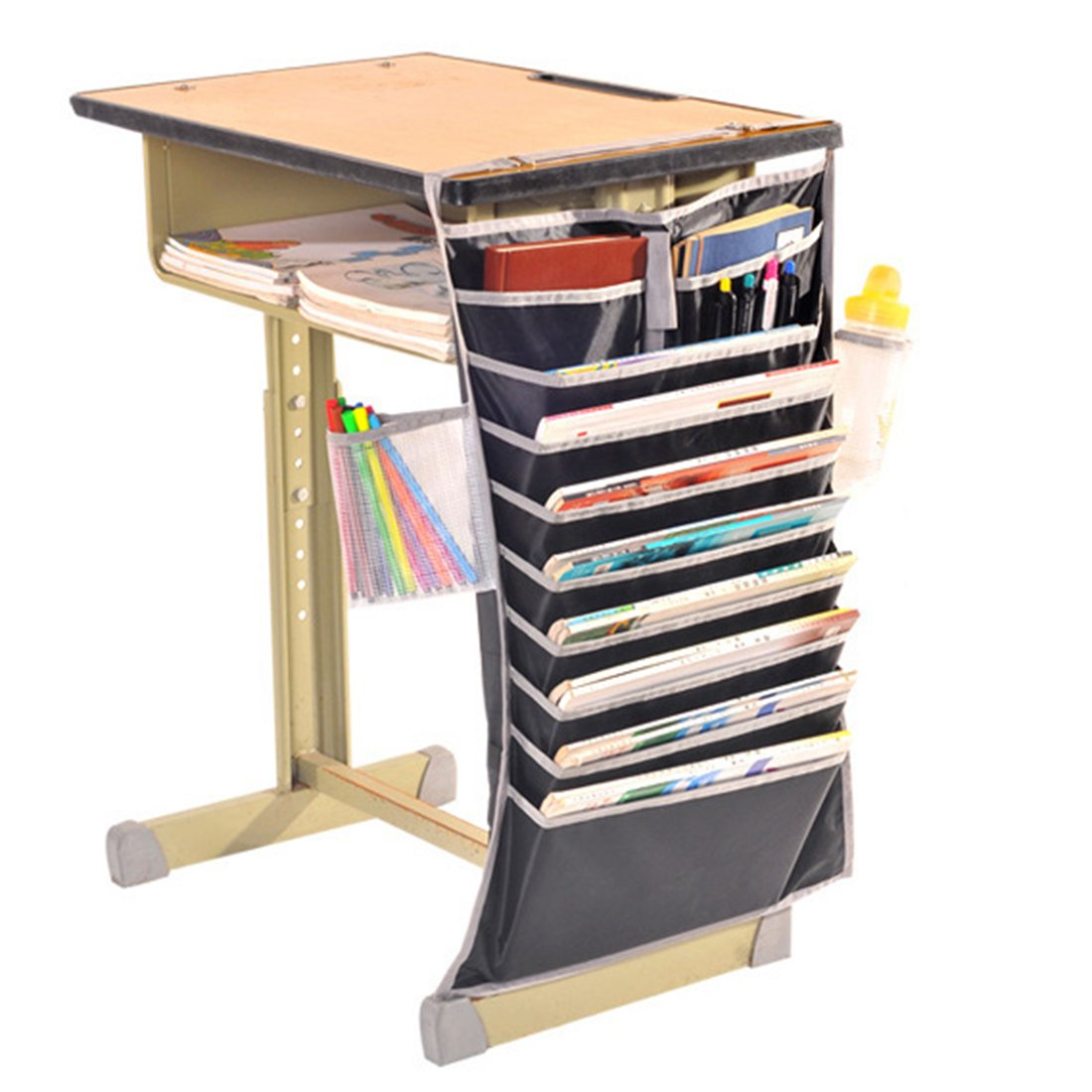 Katoot@ Thicken Student Desktop Hanging Storage Bag Home Adjustable Book Sundaries Bag Holder Organizer (Black)