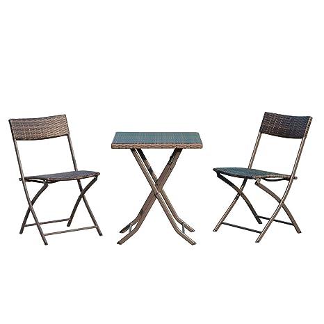 Tavolini E Sedie Da Giardino.Outsunny Set Tavolino Da Giardino 3pz Tavolino Con 2 Sedie Pieghevoli In Rattan Marrone
