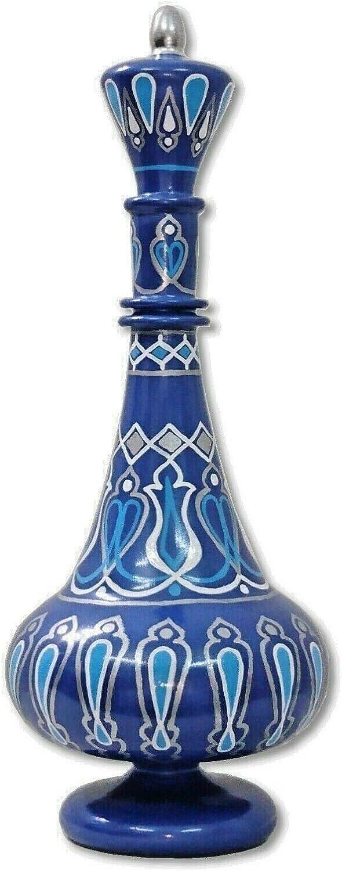 LJ580 Hand-Painted MouthBlown Glass Arabesque Blue I Dream Of Jeannie Bottle