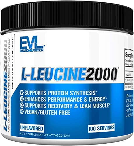 Evlution Nutrition L-Leucine2000, 2000mg of Pure L-Leucine in Each Serving, Protein Synthesis Recovery, Vegan, Gluten-Free, Unflavored Powder 100 Servings