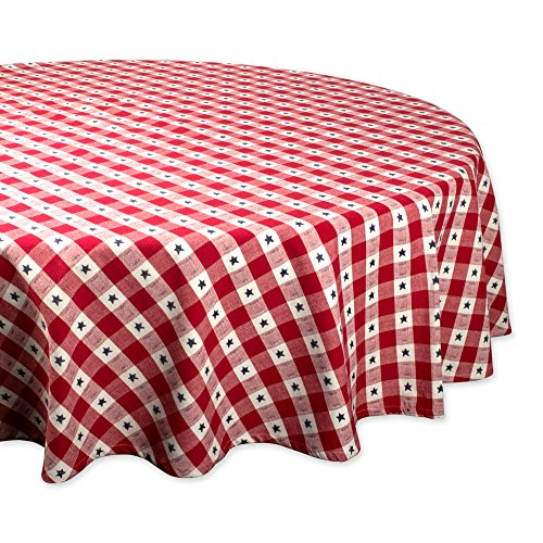 Tablecloths Check Round (DII Round Cotton Tablecloth for Independence Day, July 4th Party, Summer BBQ and Outdoor Picnics - 70