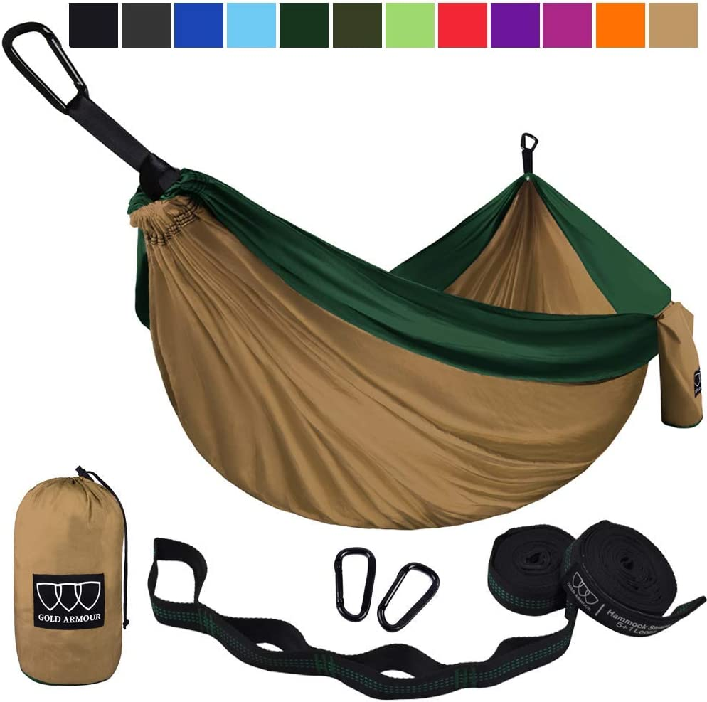 2 Tree Straps 10 Loops//20 ft Included Lightweight Nylon Portable Adult Kids Best Accessories Gear USA Brand Single Parachute Hammock Gold Armour Camping Hammock
